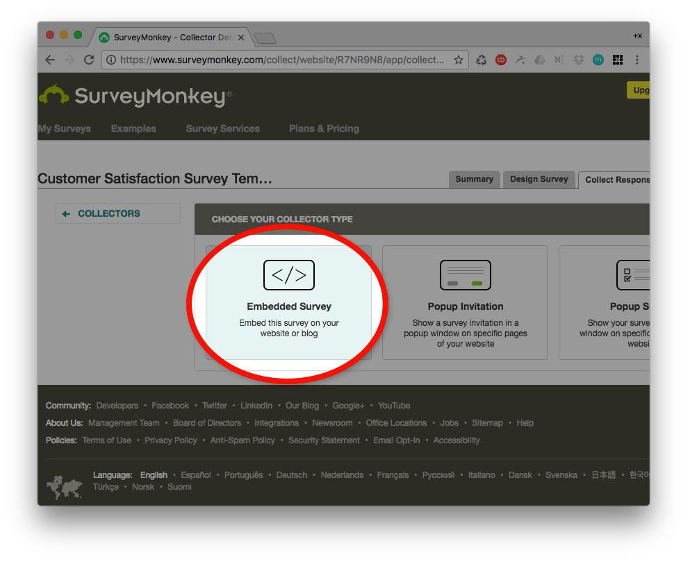 Embedded survey