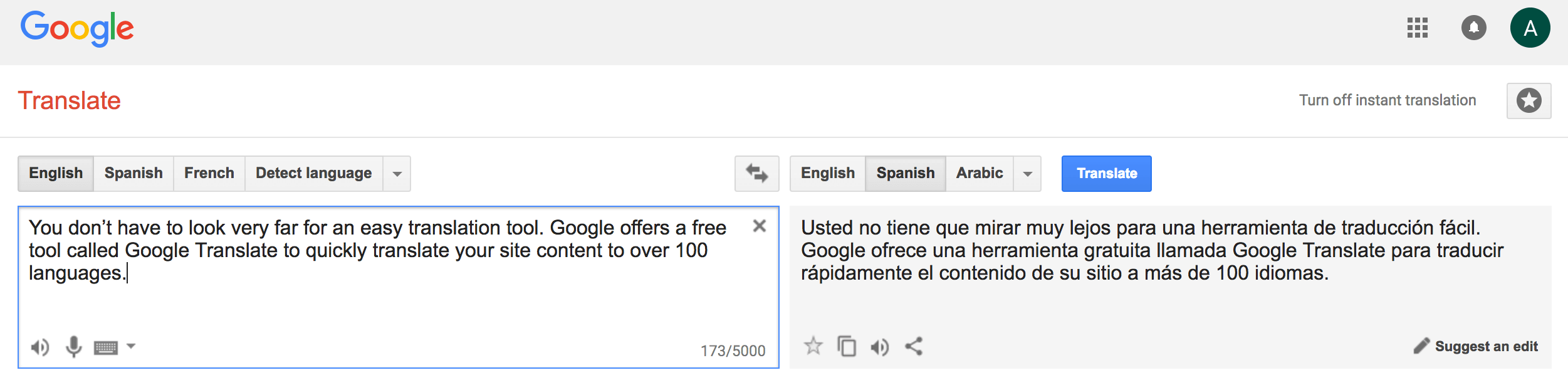 Google Translate Crazy Egg