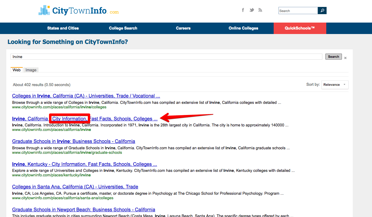 City town info city information