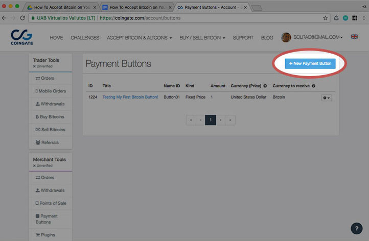 New payment button