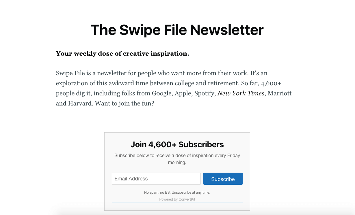 the swipe file newsletter