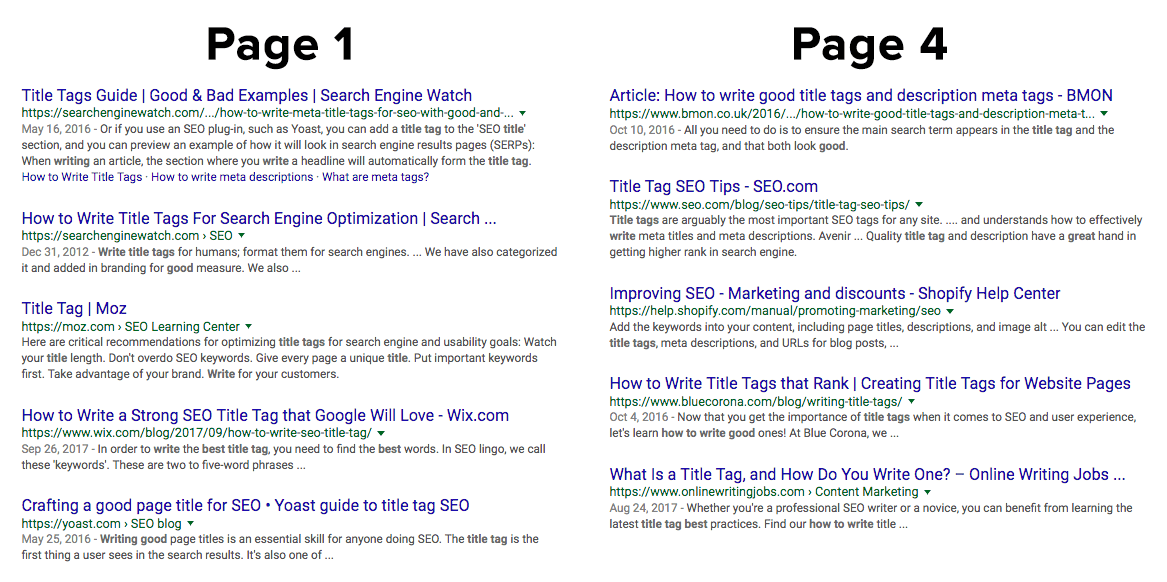 serp result title tags