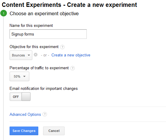create a new experiment