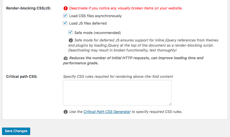 speed up your website render blocking