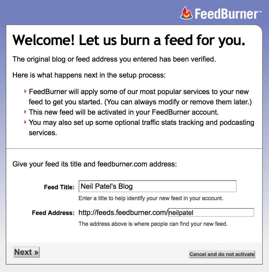 google index feedburner neil