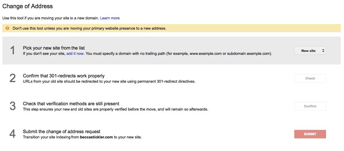 google index change of address
