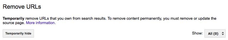 google index tool remove url