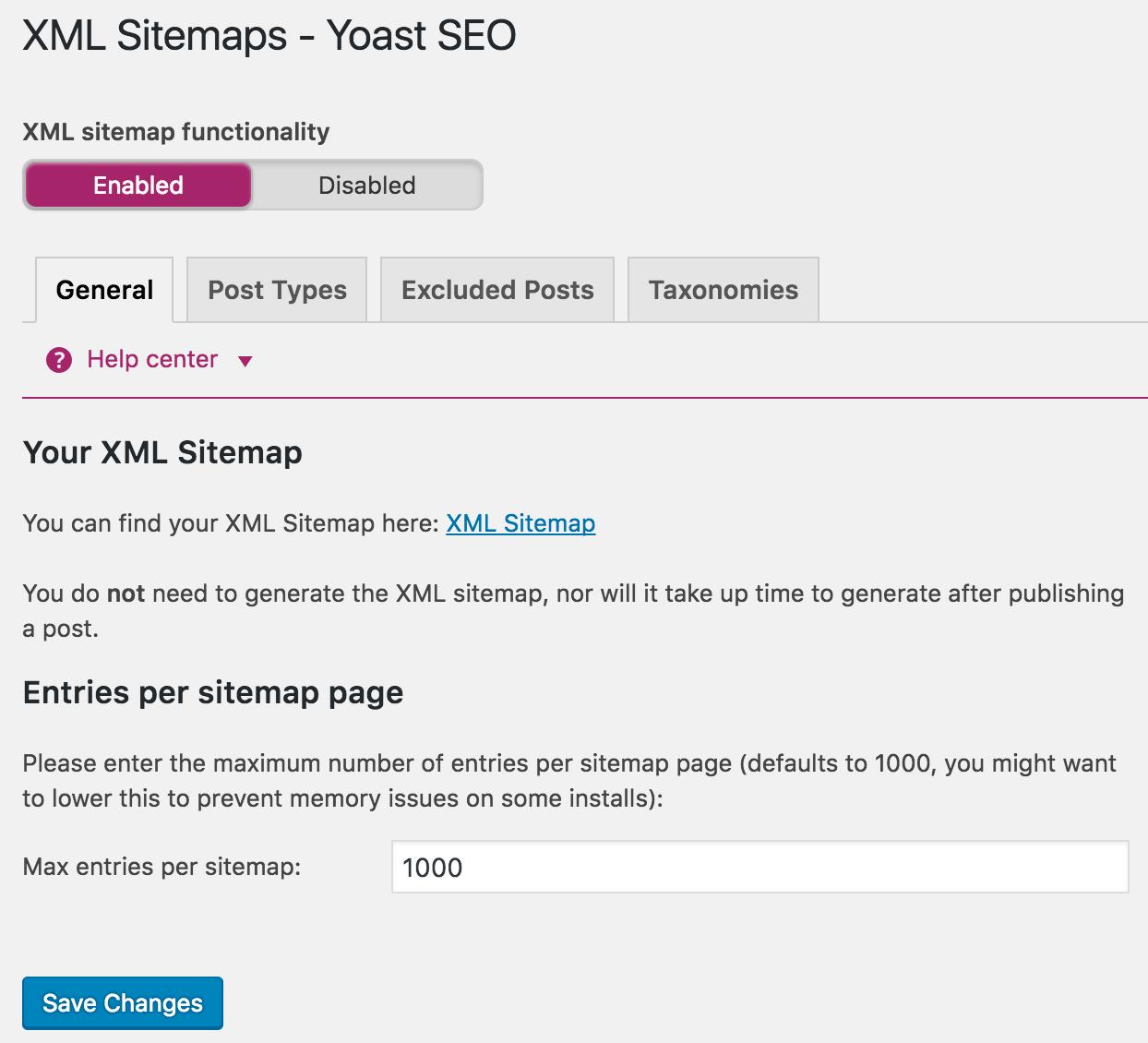 google index yoast xml sitemap