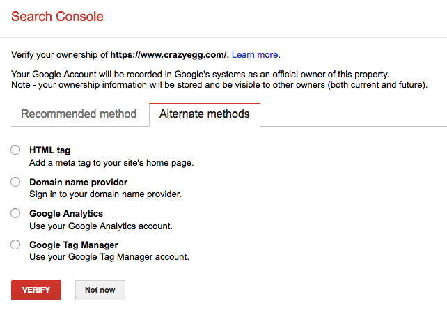 google index tools search console alternate methods