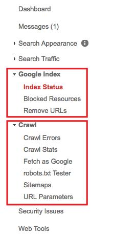google index search console menu