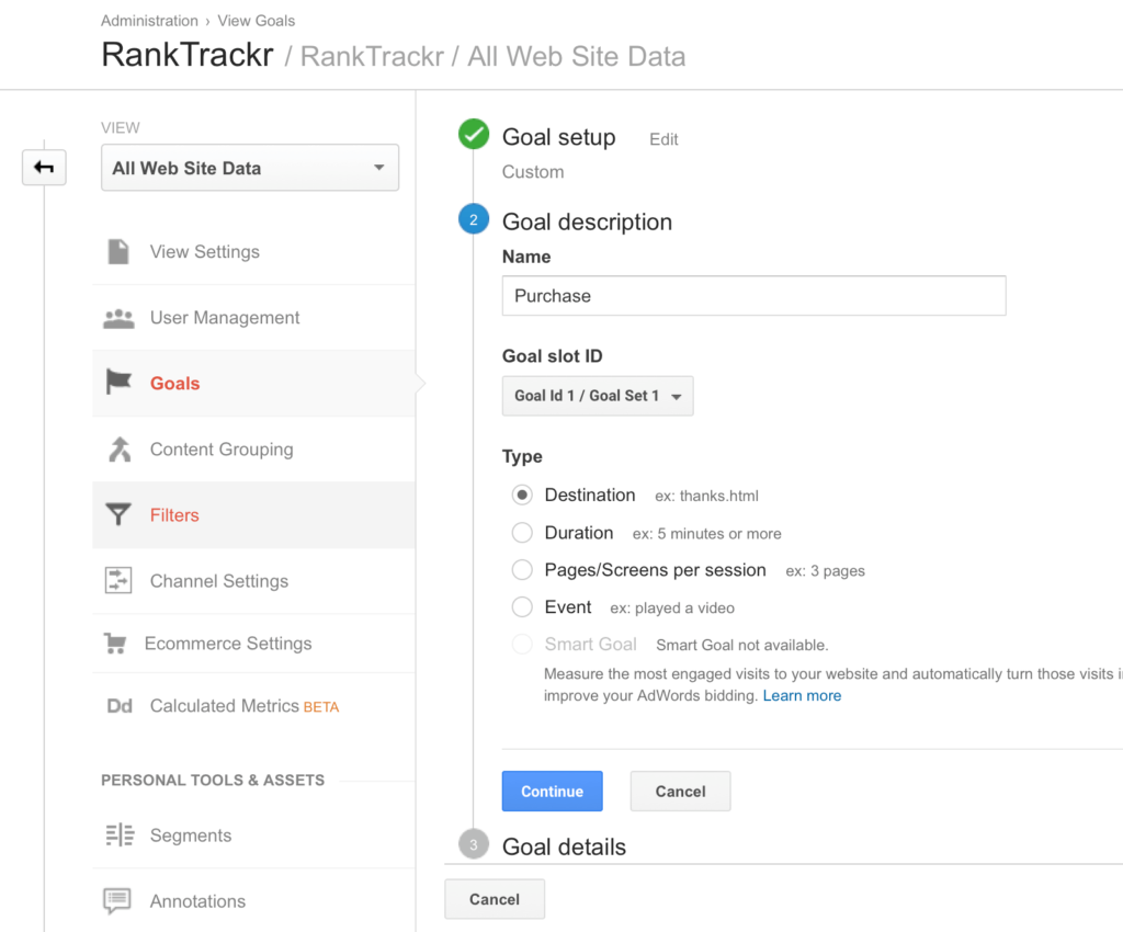 website kpis rank trackr