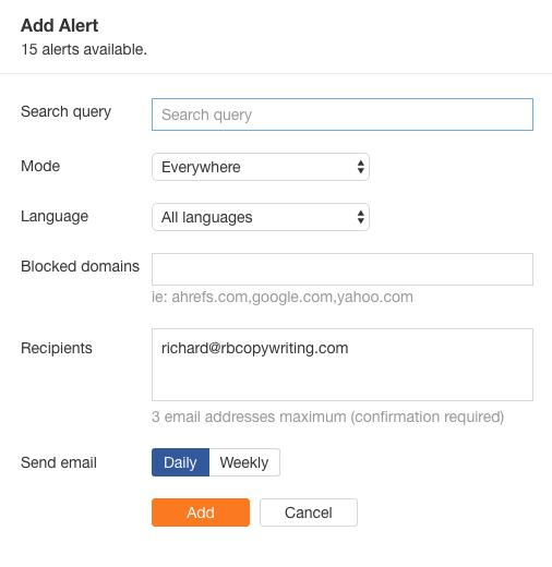quality backlinks google alert