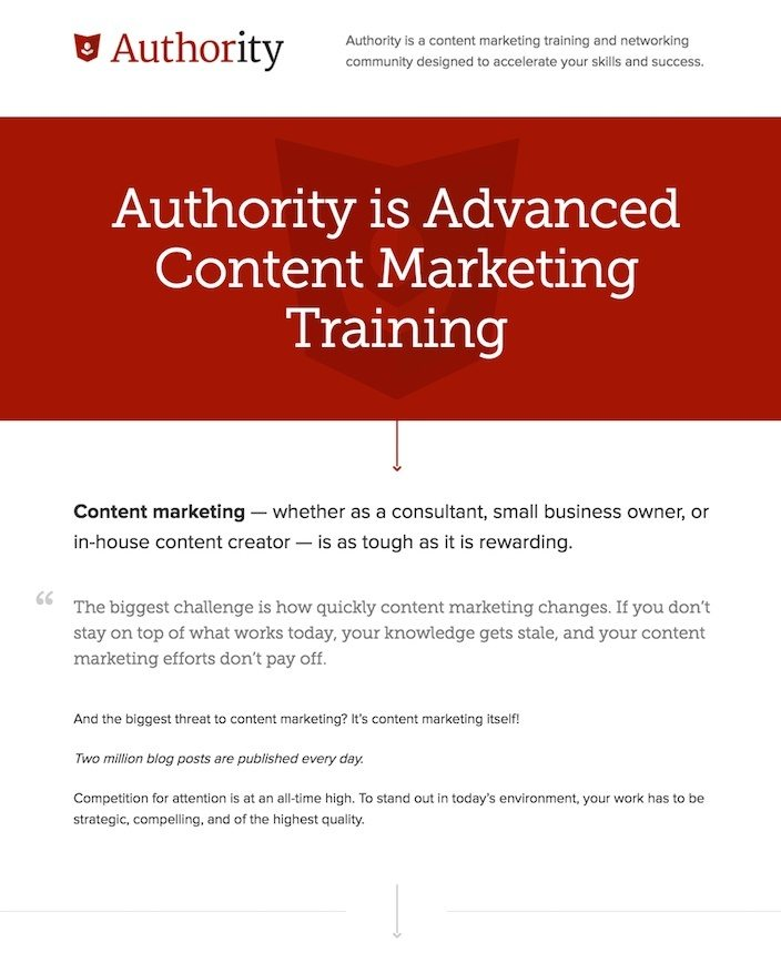 Authority and Content Marketing sales pages that convert