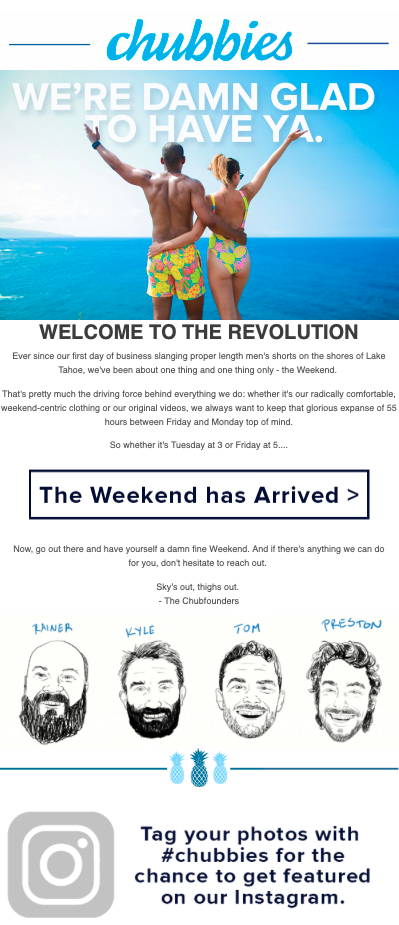 chubbies welcome email
