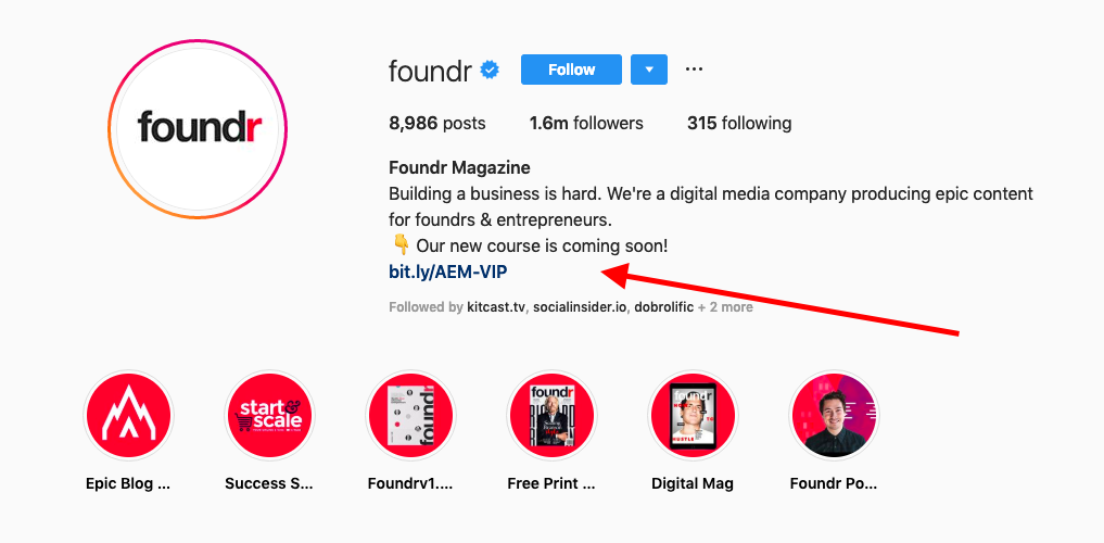Instagram bio call to action