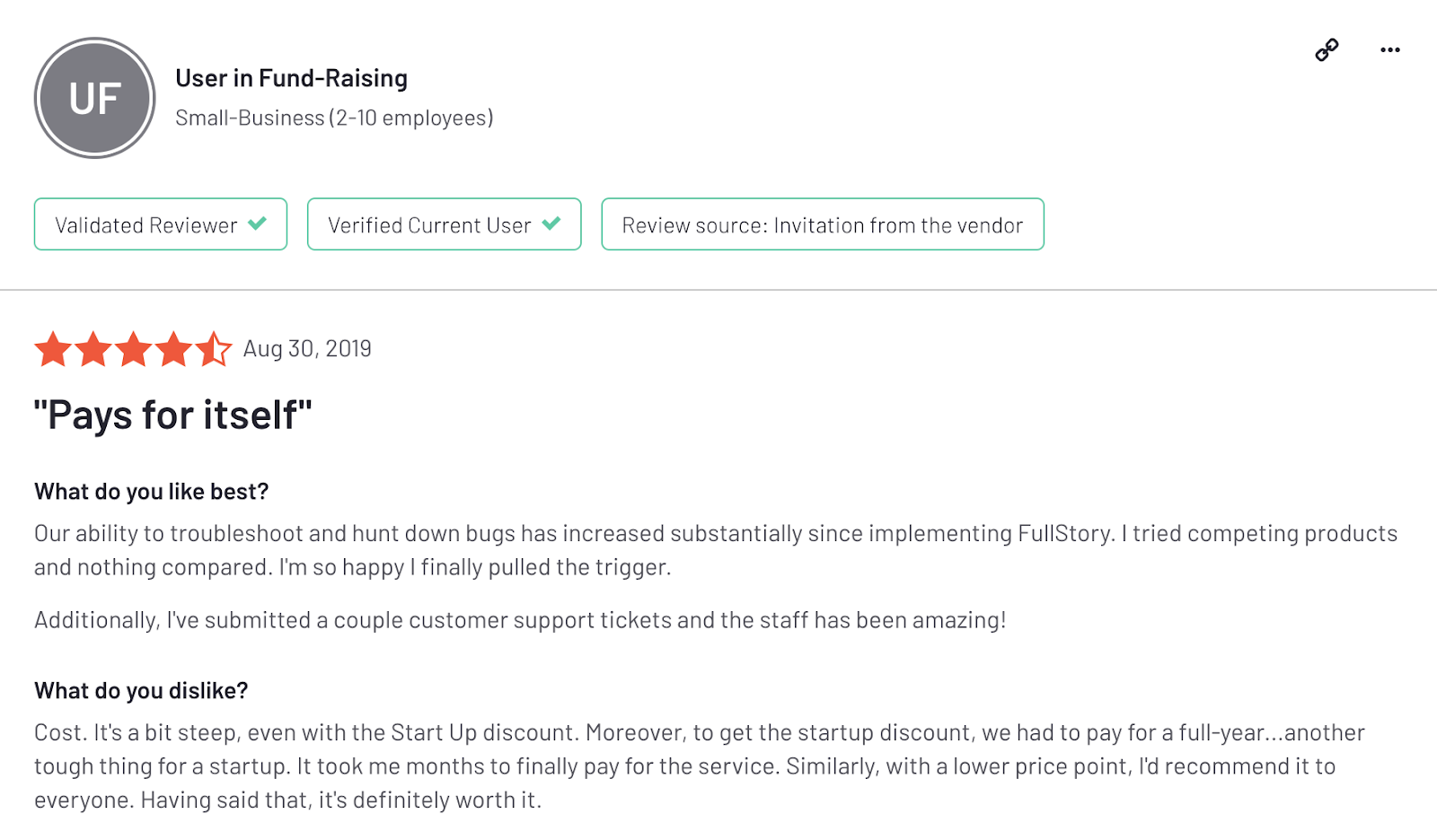 "FullStory reviews: ""Pays for itself"""