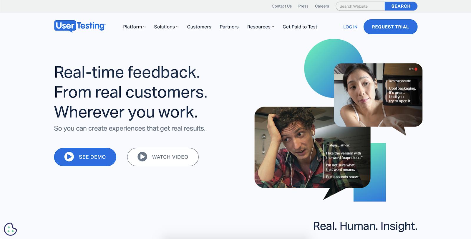 Website visitor tracking software: UserTesting