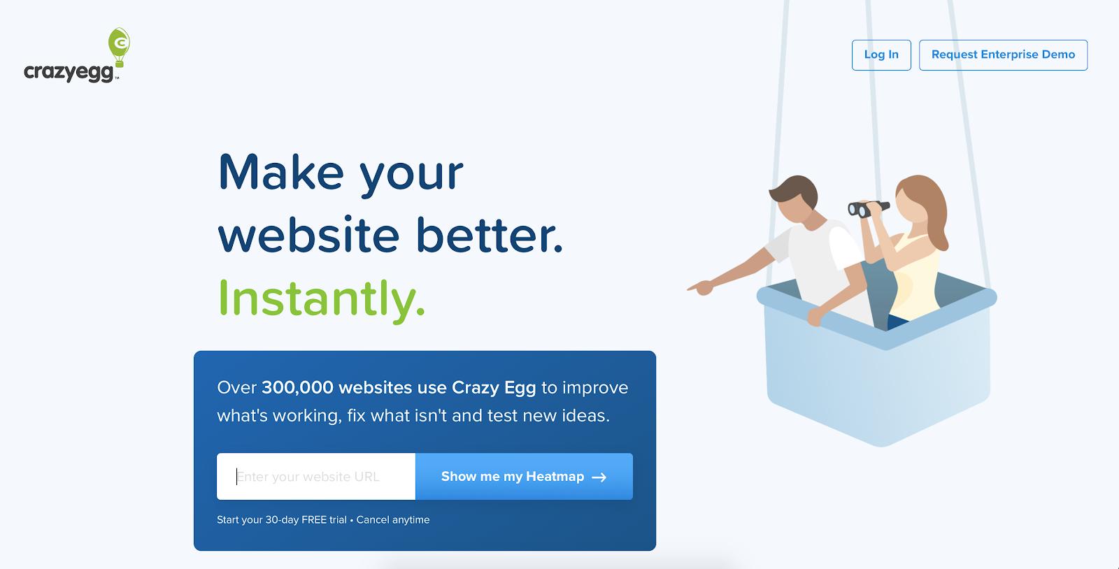 Website visitor tracking software: Crazy Egg