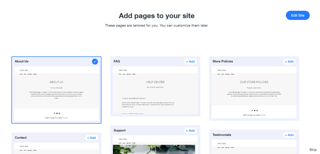 Add pages to your E-commerce site
