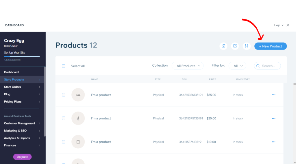 Adding your own products in Wix