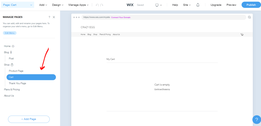 Editing the cart page in Wix
