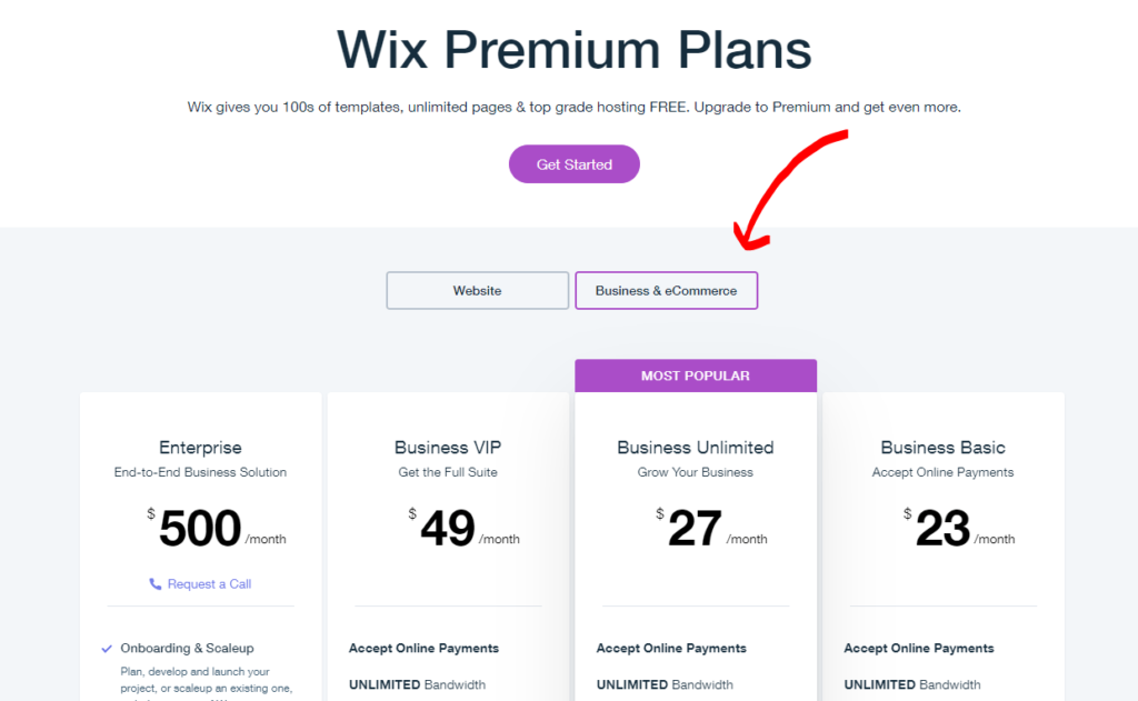 Overview of Wix's premium plans