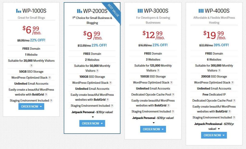 Inmotion WordPress Pricing