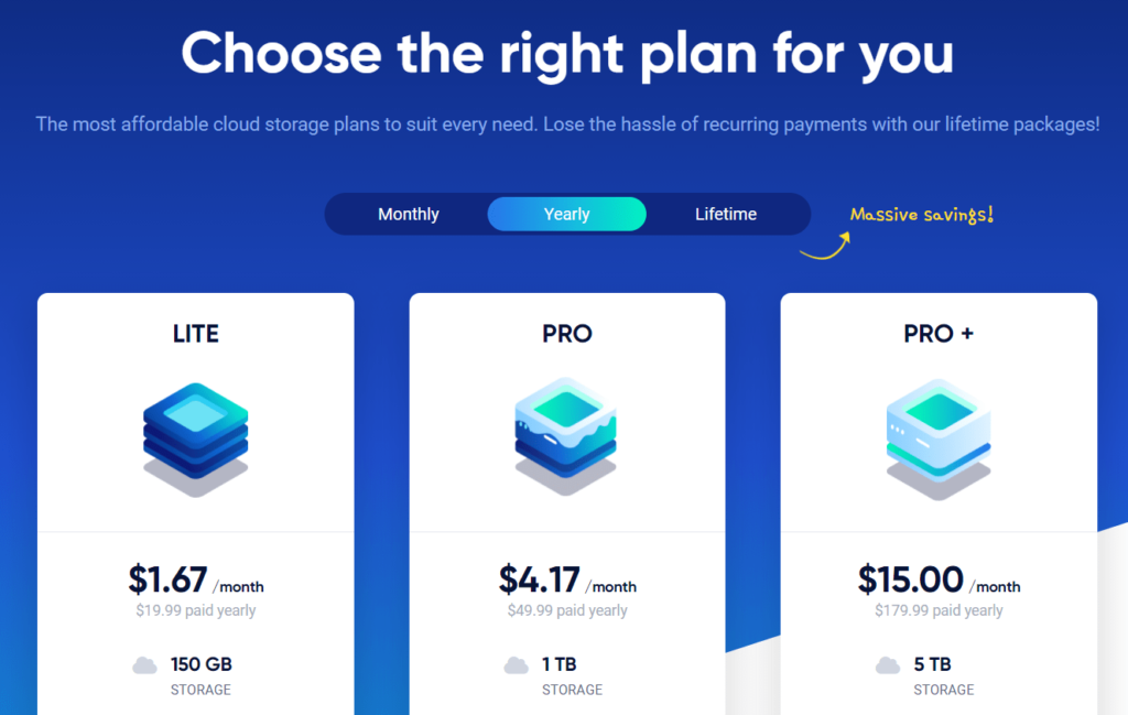 Icedrive yearly payment plans