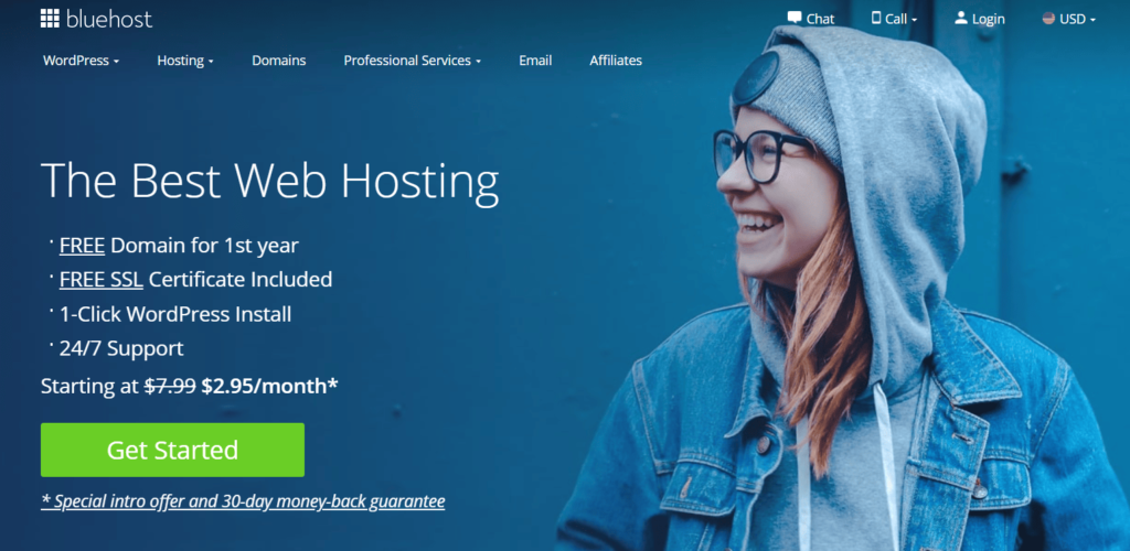 """Bluehost, the best web hosting. Click the green """"get started"""" button."""
