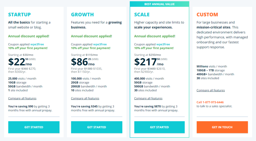 WP Engine pricing plans (updated August 20, 2020)