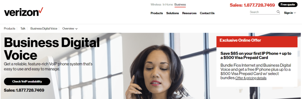 Verizon also offers VOIP business phone services.