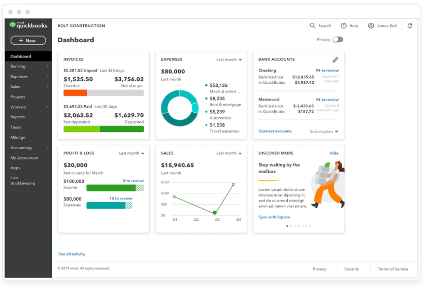 QuickBooks advanced analytics and reporting dashboard