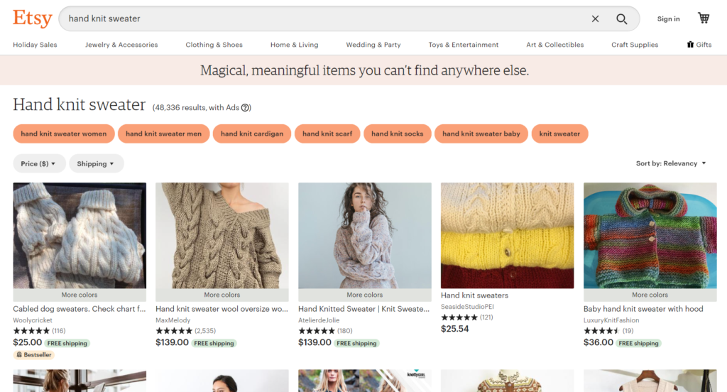 Etsy search results for hand knit sweater